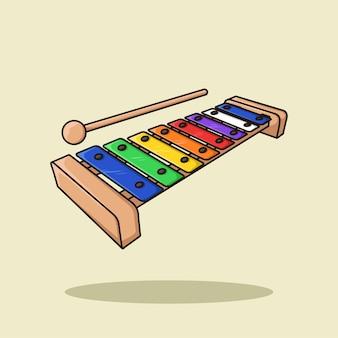 Métallophone xylophone pour vecteur d'illustration de dessin animé pour enfants