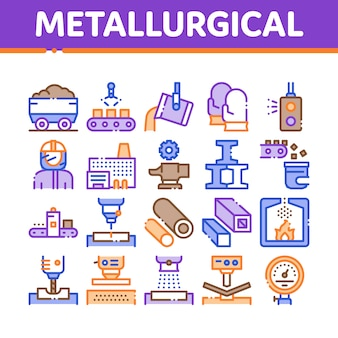Metallurgical collection elements icons set