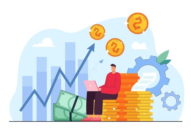 Métaphore de dessin animé de l'illustration des bénéfices d'investissement