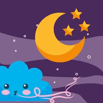 Météo bande dessinée nuage vent lune et étoiles