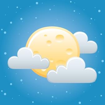 Météo lune entière nuages ciel nuit