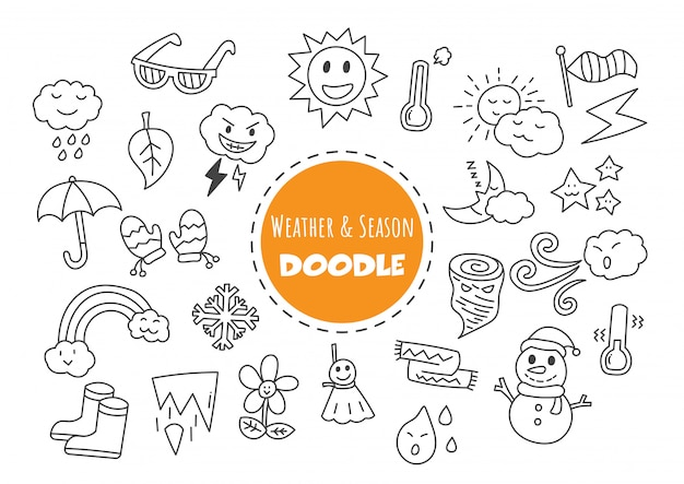 Météo et saison doodle kawaii