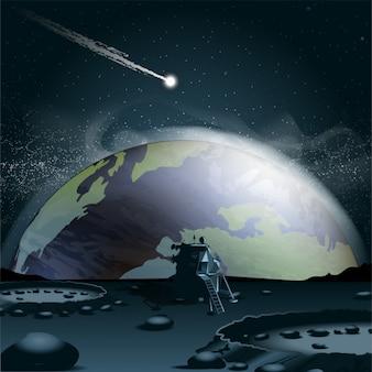 Météorite Sur Une Planète Vecteur gratuit