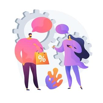 Méthode de vente face à face. achats personnalisés, coopération entre vendeurs et acheteurs, promotion des ventes. stratégie marketing personnalisée. illustration de métaphore de concept isolé de vecteur