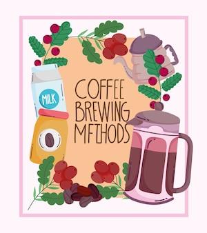 Méthodes de brassage du café, affiche vintage avec du lait de pack de bouilloire et cadre avec vecteur de grains