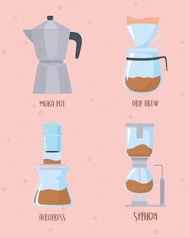 Méthodes de brassage du café, collection moka pot goutte à goutte aéropress et illustration de siphon