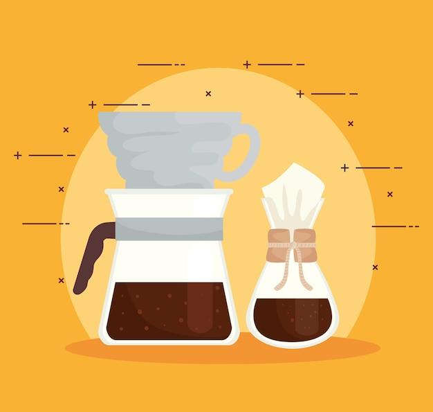 Méthodes de café, chemex et verser sur la conception