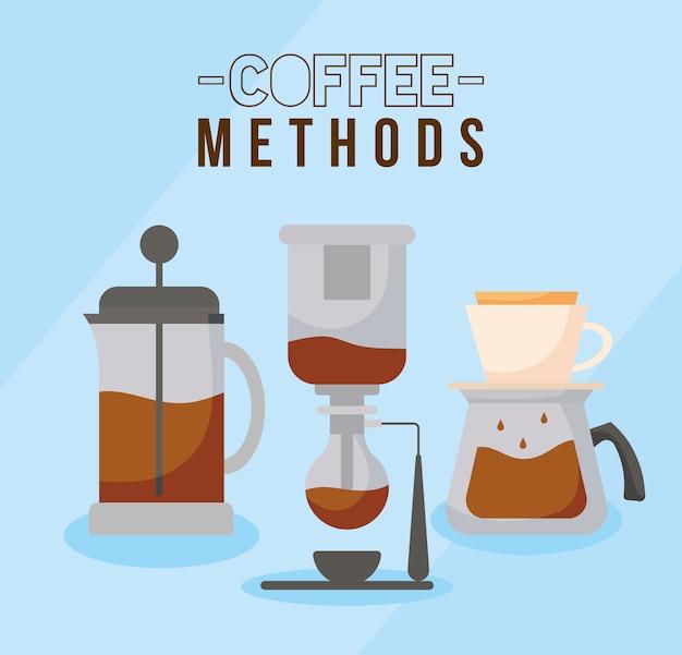 Méthodes de café avec machine à siphon presse française et conception de pot de boisson caféine petit déjeuner et thème de boisson