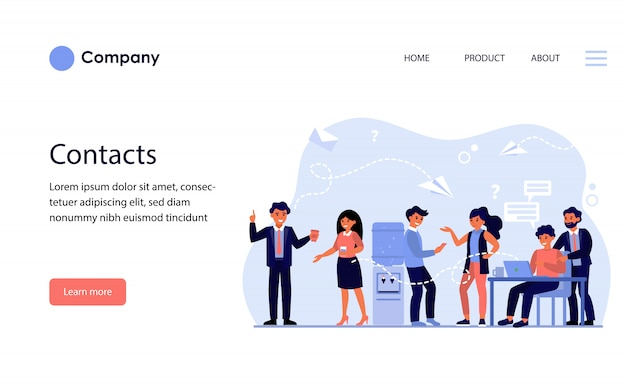 Méthodes de contact entre collègues. modèle de site web ou page de destination
