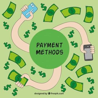 Méthodes de paiement dessinées à la main