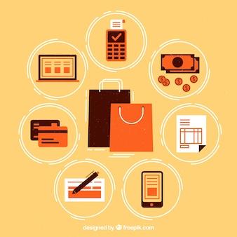 Méthodes de paiement avec sacs shoppin