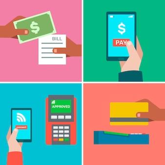 Méthodes de paiement avec style coloré