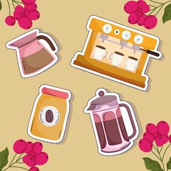 Méthodes de préparation du café, bouilloire de machine à cappuccino, bouteille de presse française et grains
