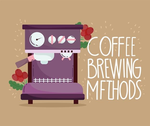 Méthodes de préparation du café, branche de machine à expresso avec grains