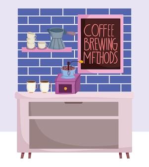 Méthodes de préparation du café, café avec tasses et plateau manuels moulin