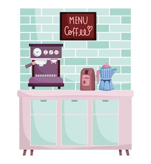 Méthodes de préparation du café, emballage de machine à expresso et pot de moka dans la cuisine