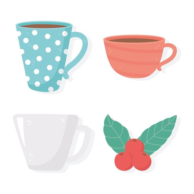 Méthodes de préparation du café, ensemble de différentes tasses en céramique et jeu d'icônes de graines