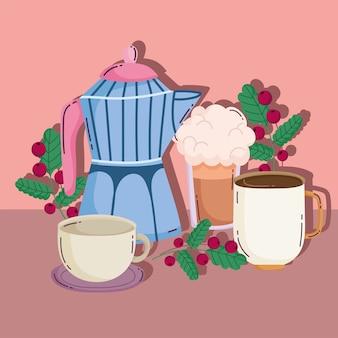 Méthodes de préparation du café, frappe de pot de moka et tasses