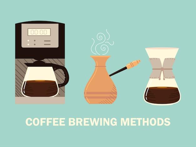 Méthodes de préparation du café, goutte à goutte turque de cezve et café numérique