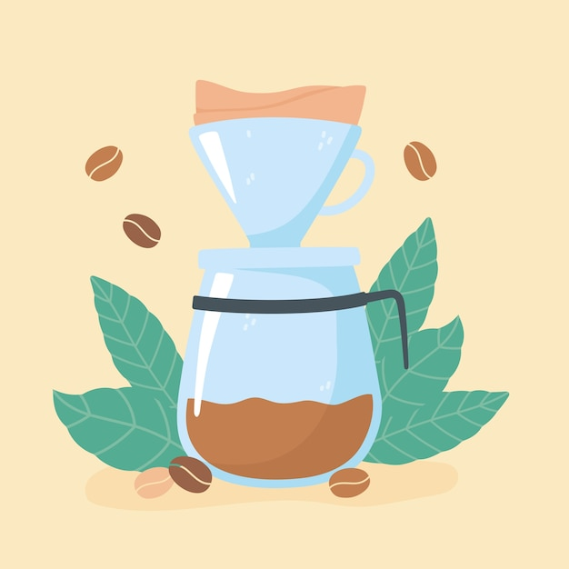 Méthodes de préparation du café, illustration de grains et de feuilles de café goutte à goutte