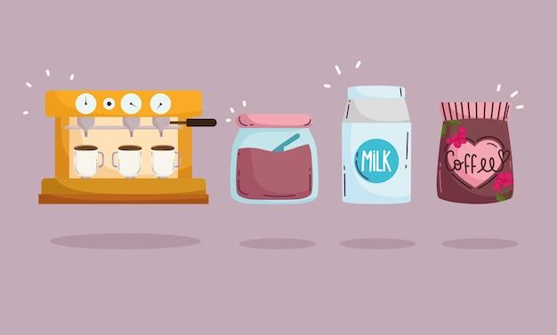 Méthodes de préparation du café, lait et bouteille de sucre de machine à expresso