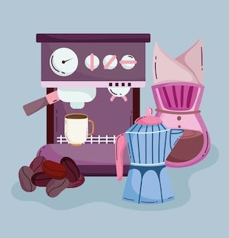 Méthodes de préparation du café, machine à café expresso bouilloire et graines