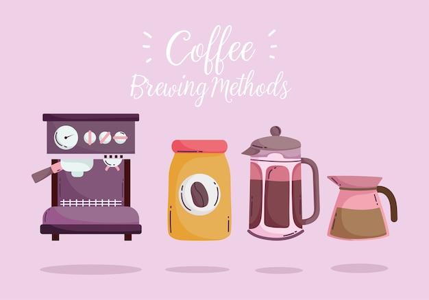 Méthodes de préparation du café, machine à expresso, bouilloire de presse française et bouteille avec produit