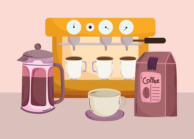 Méthodes de préparation du café, machine à expresso avec tasses, bouilloire et pack