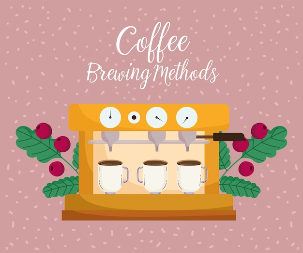 Méthodes de préparation du café, machine à expresso avec tasses et grains