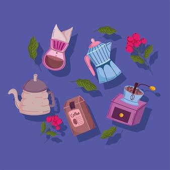 Méthodes de préparation du café, moulin à goutte à goutte à moka, graines et cezve turc