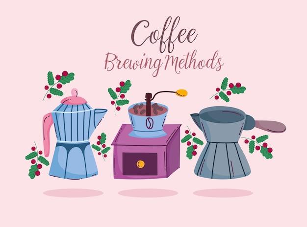 Méthodes de préparation du café, moulin à moka manuel et carte turque cezve
