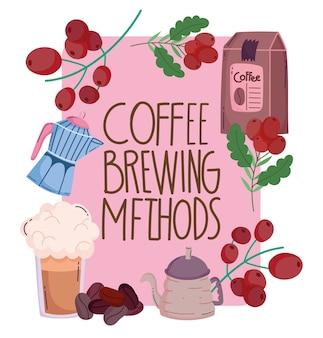 Méthodes de préparation du café, pack de frappe de bouilloire de carte de voeux et grains