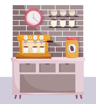 Méthodes de préparation du café, pot de machine à expresso avec tasses de produit et horloge
