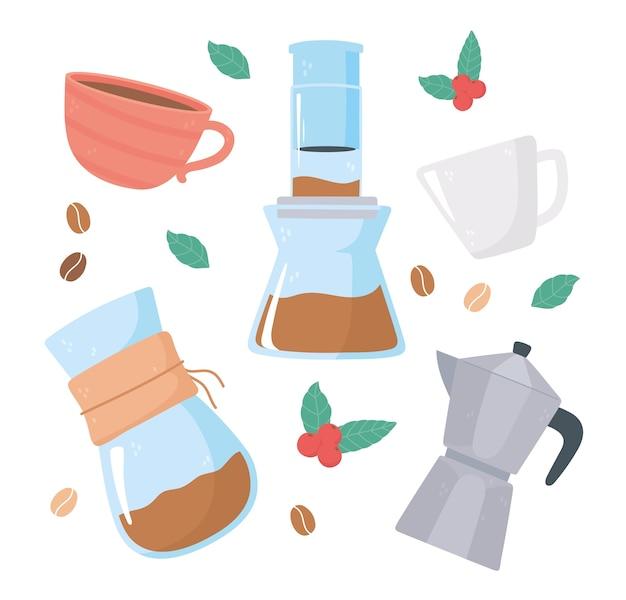 Méthodes de préparation du café, pot de moka aeropress et tasses à café avec graines et illustration de feuilles