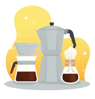 Méthodes de préparation du café, pot de moka, chemex et verser sur la conception