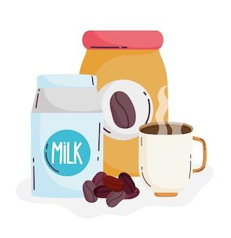 Méthodes de préparation du café, pot de tasse de boîte de lait avec des graines