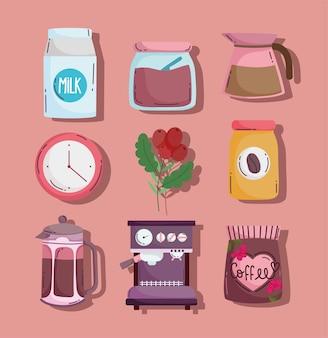 Méthodes de préparation du café, set d'icônes bouilloire machine maker sucre lait et horloge