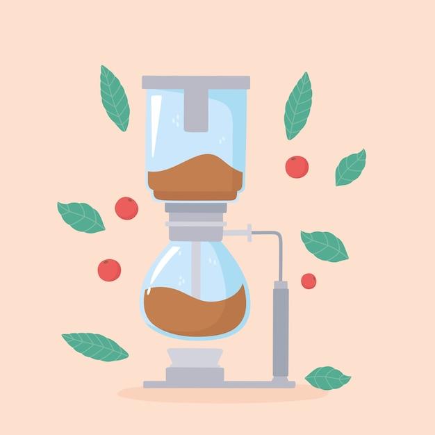 Méthodes de préparation du café, siphon détaillé illustration moderne élégante