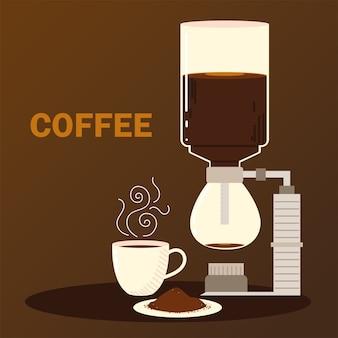 Méthodes de préparation du café, siphonner la tasse de café et les graines