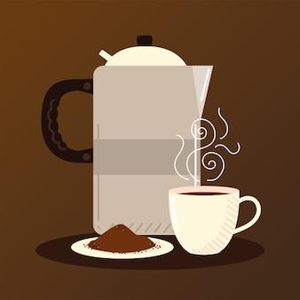 Méthodes de préparation du café, tasse de café en pot et graines dans une soucoupe