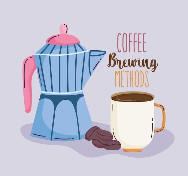 Méthodes de préparation du café, tasse de pot de moka et graines