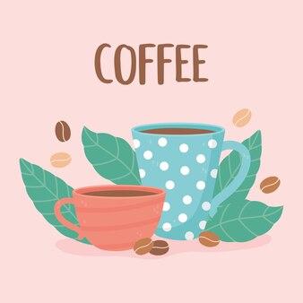 Méthodes de préparation du café, tasses beens et feuilles illustration de carte