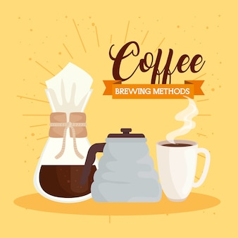 Méthodes de préparation du café, théière, tasse en céramique et design chemex