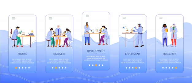 Méthodes de recherche scientifique intégrant le modèle d'écran de l'application mobile. travail de scientifique. procédure pas à pas du site web avec des personnages. ux, ui, gui smartphone concept d'interface de dessin animé
