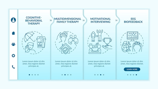 Méthodes de traitement de la toxicomanie intégrant le modèle vectoriel. site web mobile réactif avec des icônes. présentation de la page web en 4 étapes. concept de couleur de thérapie multidimensionnelle avec illustrations linéaires