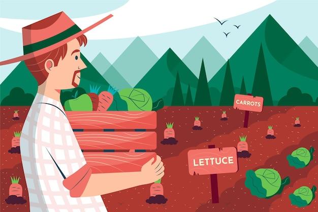 Métier de l'agriculture biologique en plat illustré