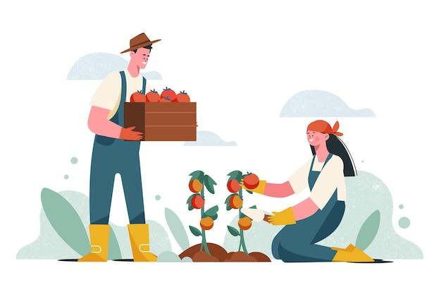 Métier de l'agriculture biologique en plat