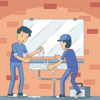 Métiers de la maison et de la rénovation avec des hommes
