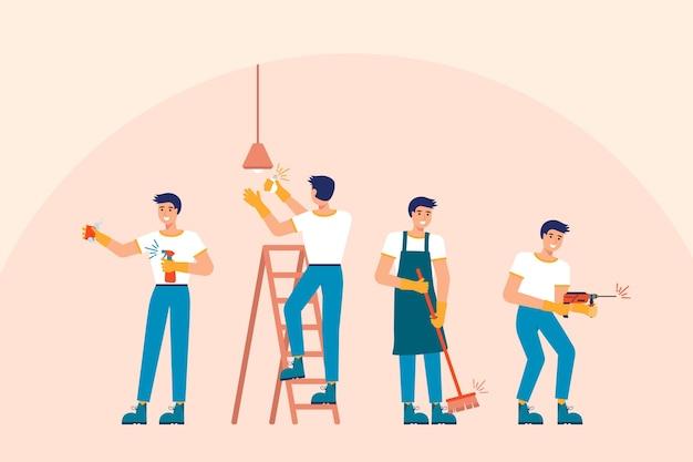 Métiers ménagers hommes travaillant