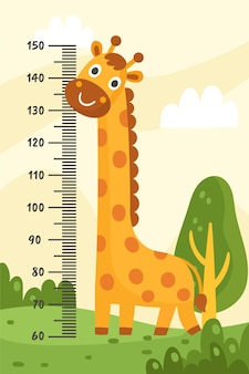 Mètre de hauteur de dessin animé illustré